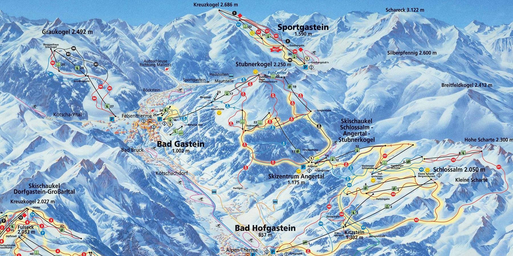 Карта трасс -  Бад Гаштайн