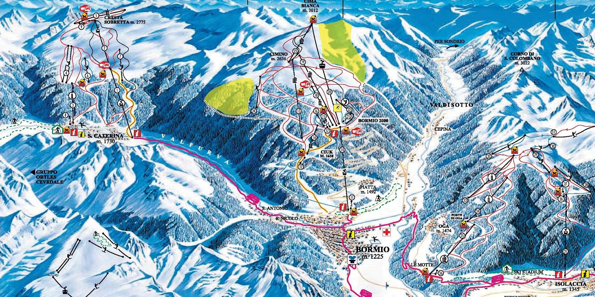 Карта трасс в Бормио