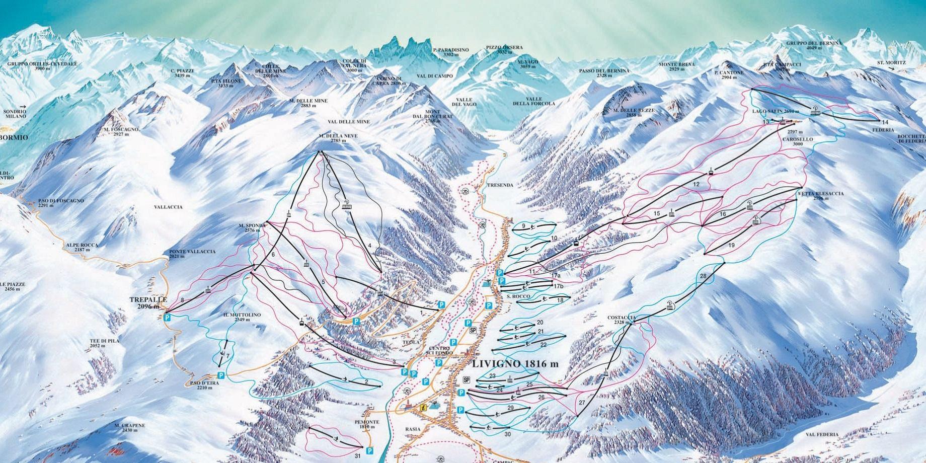 Карта трасс в Ливиньо