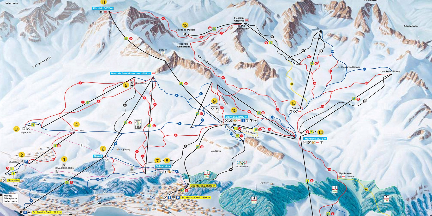 Карта трасс в Санкт Мориц