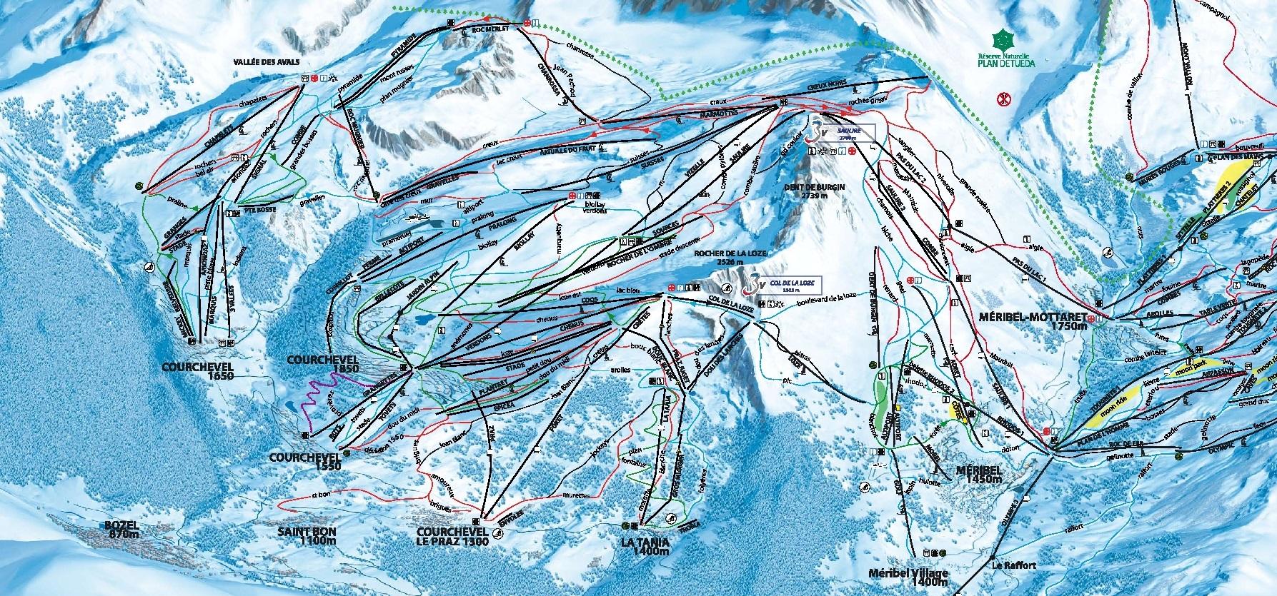 Схема трасс в Куршевель